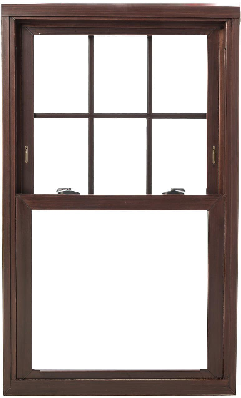 Stained double hung, bronze hardware